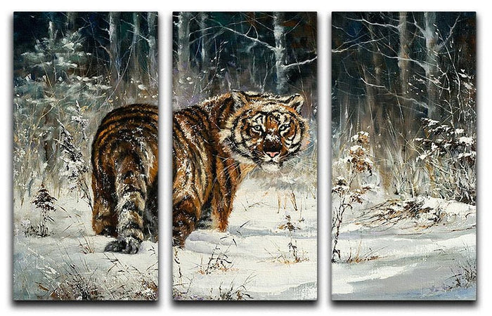 Landscape with a tiger in winter wood 3 Split Panel Canvas Print