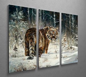 Landscape with a tiger in winter wood 3 Split Panel Canvas Print - Canvas Art Rocks - 2