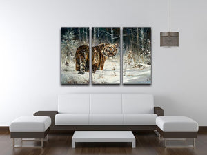 Landscape with a tiger in winter wood 3 Split Panel Canvas Print - Canvas Art Rocks - 3