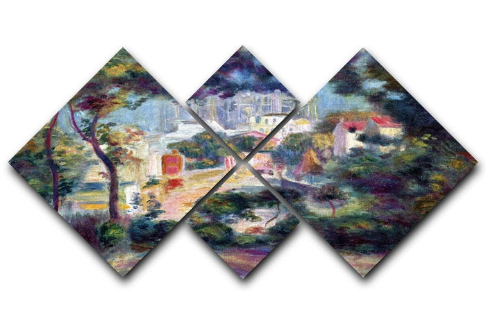 Landscape with a view of the Sacred Heart by Renoir 4 Square Multi Panel Canvas