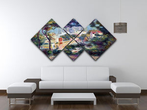 Landscape with a view of the Sacred Heart by Renoir 4 Square Multi Panel Canvas - Canvas Art Rocks - 3