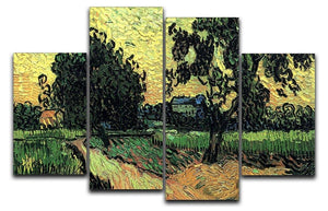 Landscape with the Chateau of Auvers at Sunset by Van Gogh 4 Split Panel Canvas  - Canvas Art Rocks - 1
