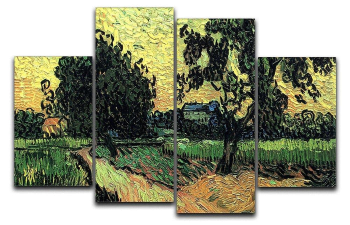 Landscape with the Chateau of Auvers at Sunset by Van Gogh 4 Split Panel Canvas