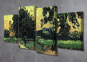 Landscape with the Chateau of Auvers at Sunset by Van Gogh 4 Split Panel Canvas - Canvas Art Rocks - 2