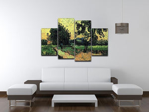 Landscape with the Chateau of Auvers at Sunset by Van Gogh 4 Split Panel Canvas - Canvas Art Rocks - 3