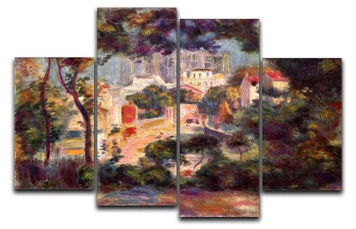 Landscape with the view of Sacre Coeur by Renoir 4 Split Panel Canvas