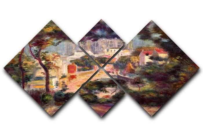 Landscape with the view of Sacre Coeur by Renoir 4 Square Multi Panel Canvas