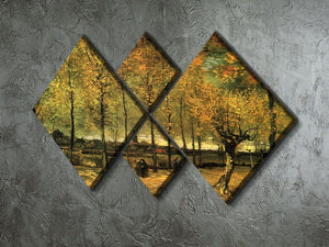Lane with Poplars by Van Gogh 4 Square Multi Panel Canvas - Canvas Art Rocks - 2