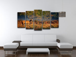 Large red deer stag in autumn 5 Split Panel Canvas - Canvas Art Rocks - 3