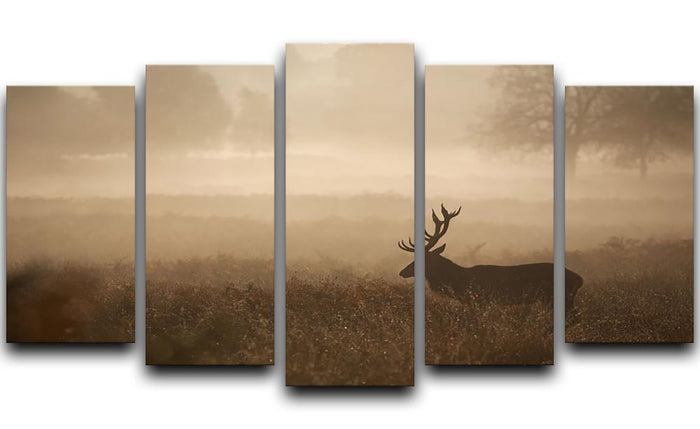 Large red deer stag in autumn mist 5 Split Panel Canvas