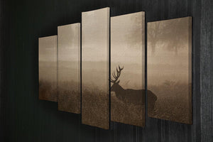 Large red deer stag in autumn mist 5 Split Panel Canvas - Canvas Art Rocks - 2