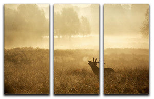 Large red deer stag silhouette in autumn 3 Split Panel Canvas Print - Canvas Art Rocks - 1