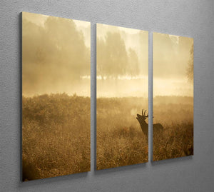 Large red deer stag silhouette in autumn 3 Split Panel Canvas Print - Canvas Art Rocks - 2