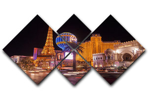 Las Vegas Blvd at Flamingo 4 Square Multi Panel Canvas  - Canvas Art Rocks - 1