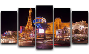Las Vegas Blvd at Flamingo 5 Split Panel Canvas  - Canvas Art Rocks - 1