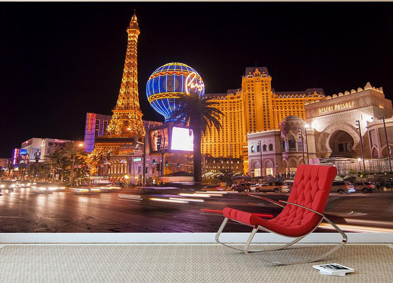 Las Vegas Blvd at Flamingo Wall Mural Wallpaper - Canvas Art Rocks - 1