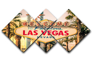 Las Vegas Welcomes You 4 Square Multi Panel Canvas  - Canvas Art Rocks - 1