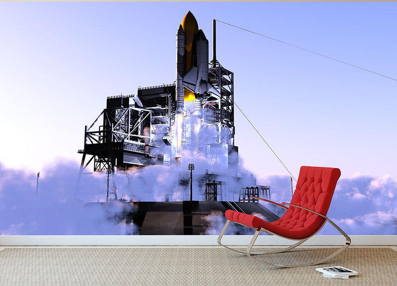 Launch a spacecraft into space Wall Mural Wallpaper - Canvas Art Rocks - 1
