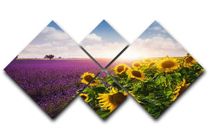 Lavender and sunflowers fields 4 Square Multi Panel Canvas  - Canvas Art Rocks - 1