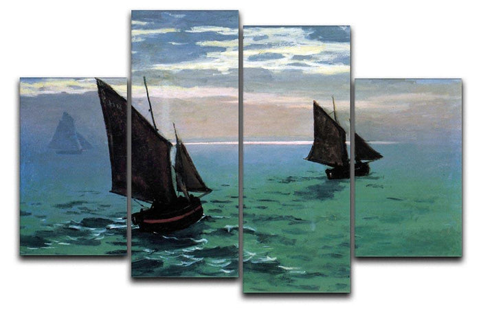 Le Havre exit the fishing boats from the port by Monet 4 Split Panel Canvas