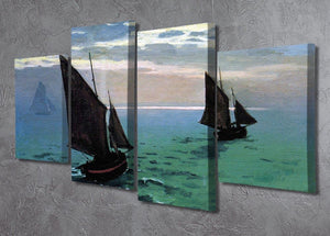 Le Havre exit the fishing boats from the port by Monet 4 Split Panel Canvas - Canvas Art Rocks - 2