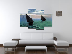 Le Havre exit the fishing boats from the port by Monet 4 Split Panel Canvas - Canvas Art Rocks - 3