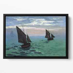 Le Havre exit the fishing boats from the port by Monet Floating Framed Canvas