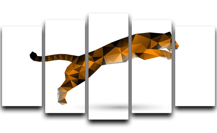 Leaping tiger from polygons 5 Split Panel Canvas