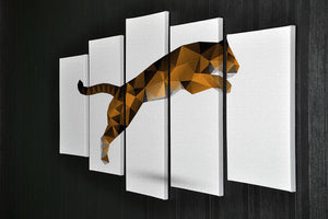 Leaping tiger from polygons 5 Split Panel Canvas - Canvas Art Rocks - 2