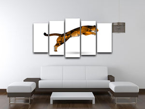 Leaping tiger from polygons 5 Split Panel Canvas - Canvas Art Rocks - 3