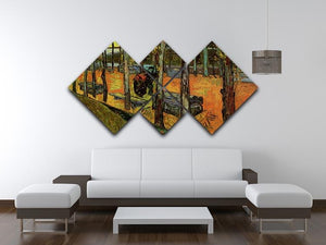 Les Alyscamps 2 by Van Gogh 4 Square Multi Panel Canvas - Canvas Art Rocks - 3