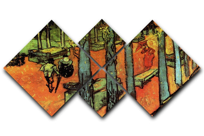 Les Alyscamps Falling Autumn Leaves by Van Gogh 4 Square Multi Panel Canvas