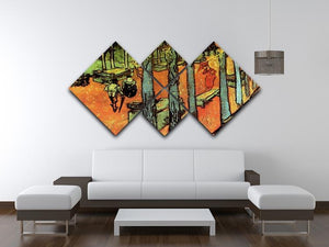 Les Alyscamps Falling Autumn Leaves by Van Gogh 4 Square Multi Panel Canvas - Canvas Art Rocks - 3