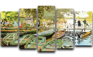 Les bain de la Grenouillere by Monet 5 Split Panel Canvas  - Canvas Art Rocks - 1