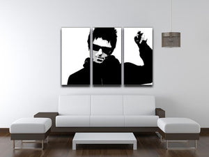 Liam Gallagher Black and White 3 Split Panel Canvas Print - Canvas Art Rocks - 3