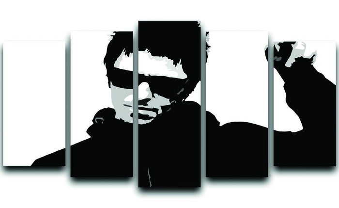 Liam Gallagher Black and White 5 Split Panel Canvas
