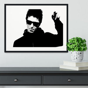 Liam Gallagher Black and White Framed Print - Canvas Art Rocks - 1