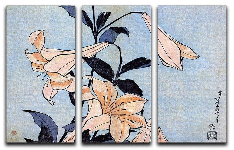 Lilies by Hokusai 3 Split Panel Canvas Print - Canvas Art Rocks - 1