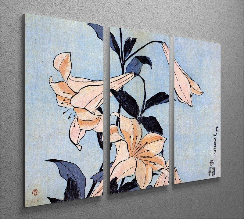 Lilies by Hokusai 3 Split Panel Canvas Print - Canvas Art Rocks - 2