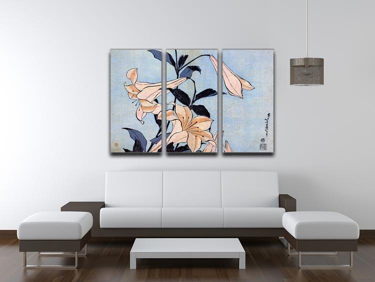Lilies by Hokusai 3 Split Panel Canvas Print - Canvas Art Rocks - 3