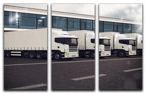 Line of white lorries 3 Split Panel Canvas Print - Canvas Art Rocks - 1