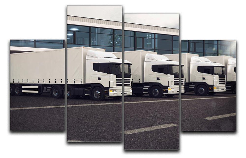 Line of white lorries 4 Split Panel Canvas  - Canvas Art Rocks - 1