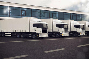 Line of white lorries Wall Mural Wallpaper - Canvas Art Rocks - 1