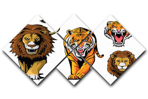 Lion And Tiger 4 Square Multi Panel Canvas - Canvas Art Rocks - 1