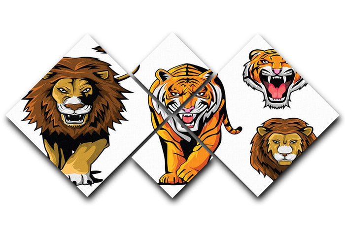 Lion And Tiger 4 Square Multi Panel Canvas