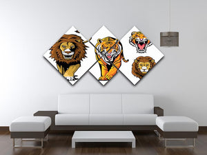 Lion And Tiger 4 Square Multi Panel Canvas - Canvas Art Rocks - 3