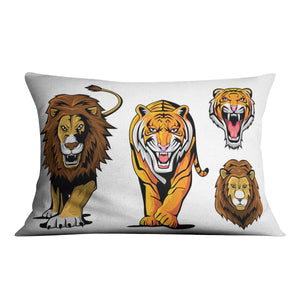 Lion And Tiger Cushion - Canvas Art Rocks - 4