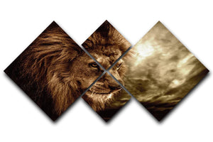 Lion against stormy sky 4 Square Multi Panel Canvas - Canvas Art Rocks - 1