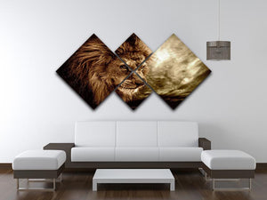 Lion against stormy sky 4 Square Multi Panel Canvas - Canvas Art Rocks - 3