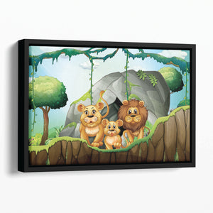 Lion family living in the jungle Floating Framed Canvas